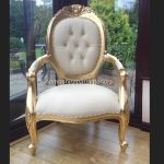 Chatsworth Chair in Gold Leaf and Cream Faux Leather now with DIAMOND CRYSTAL BUTTONS1