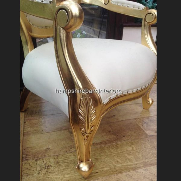 Chatsworth Chair in Gold Leaf and Cream Faux Leather now with DIAMOND CRYSTAL BUTTONS5
