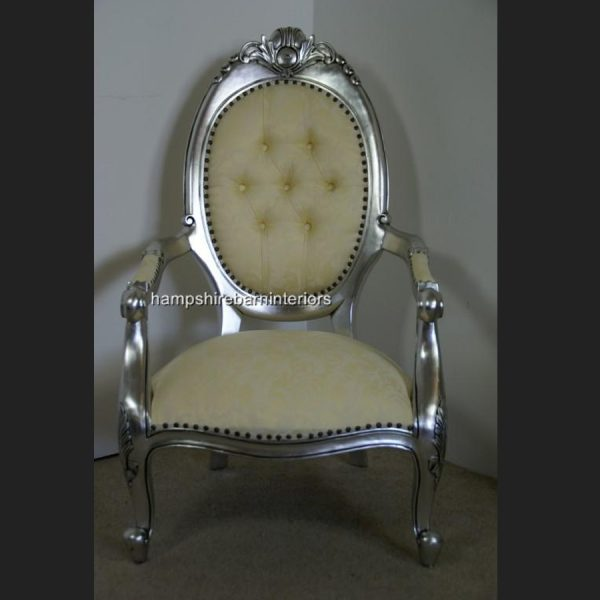 Chatsworth Chair in Silver and Cream1