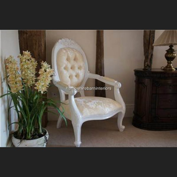 Chatsworth Diamond Chair French painted White with Cream Fabric1