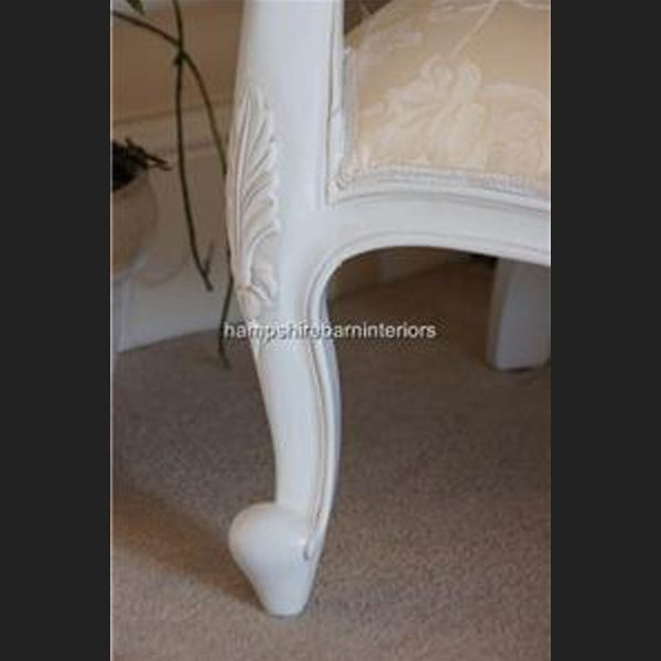 Chatsworth Diamond Chair French painted White with Cream Fabric3