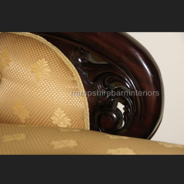 Classical Victorian Style Gold Chaise Longue with castors (fabric as main photo)3