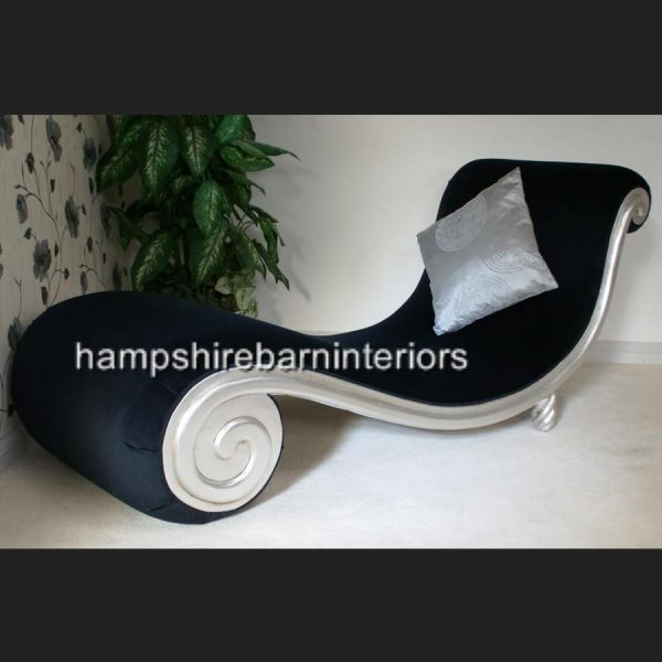 DESIGNERS SNAIL CHAISE in silver leaf and black velvet