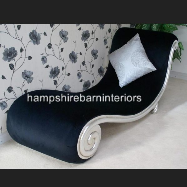 DESIGNERS SNAIL CHAISE in silver leaf and black velvet4