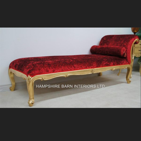 Day Bed Salon Chaise Longue (shown in red crushed velvet and antiqued gold frame LARGE SIZE1