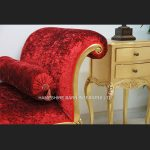 Day Bed Salon Chaise Longue (shown in red crushed velvet and antiqued gold frame LARGE SIZE2