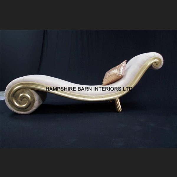 Designers Snail Chaise gold leaf frame with cream fabric5