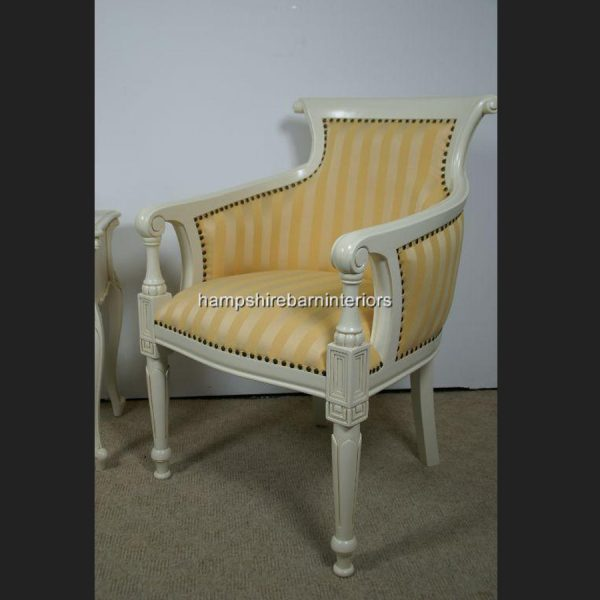 Dutch Tub Chair In Antique White and Gold