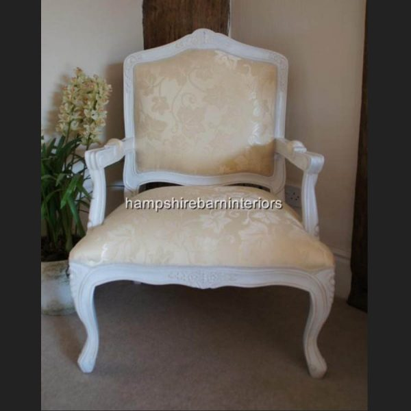 FRENCH LOUIS WHITE PAINTED CHAIR WITH CREAM FABRIC3