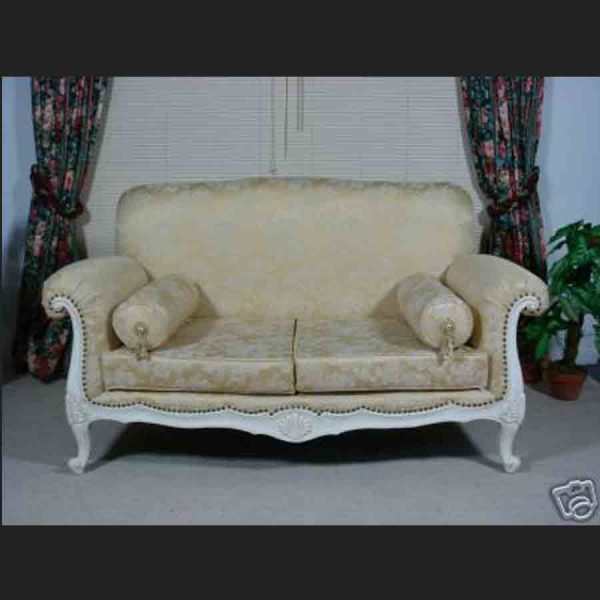 Florence Sofa in Antique White and Gold Fabric
