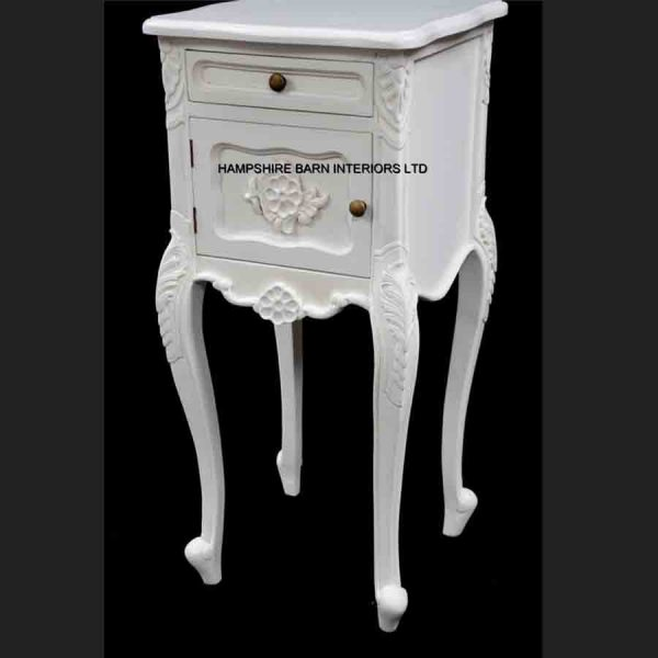 French Chateau Style Louis Ornate Side Cabinet Bed Lamp Table Antique White cupboard and 1 drawer1