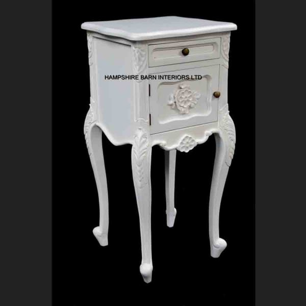 French Chateau Style Louis Ornate Side Cabinet Bed Lamp Table Antique White cupboard and 1 drawer2