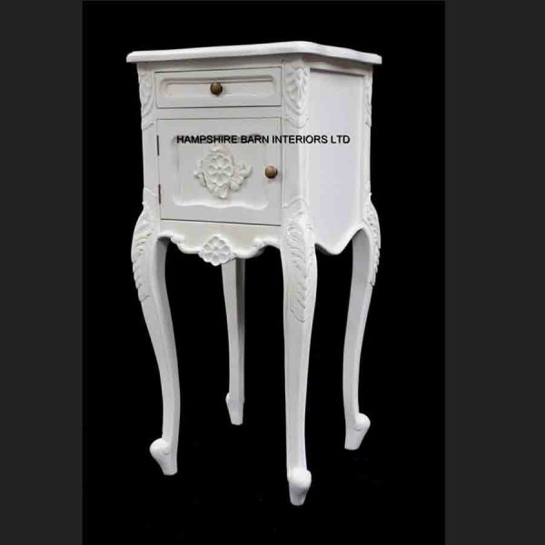 French Chateau Style Louis Ornate Side Cabinet Bed Lamp Table Antique White cupboard and 1 drawer3