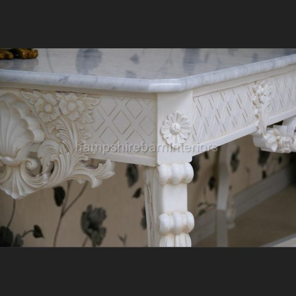 Gainsborough Console Table in Antique White with White Marble3