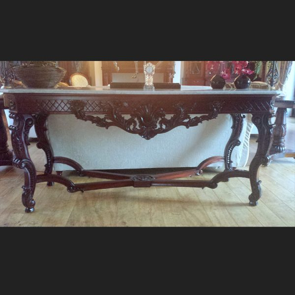 Gainsborough Console Table in Mahogany with White Marble