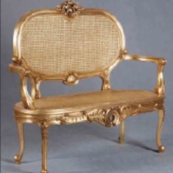 Gold Rattan Reine Love Seat