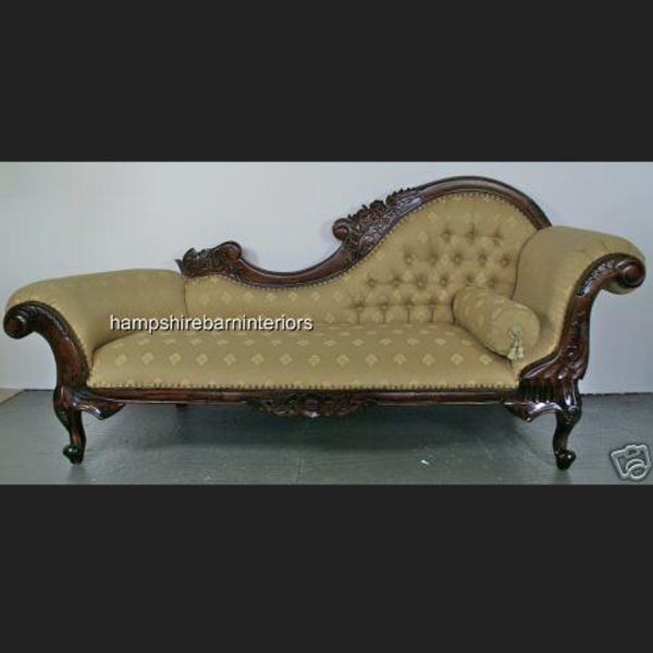 Hampshire Chaise Longue (large) in Mahogany and Regal Gold Fabric