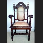 Jacobean Mahogany Carver Throne or Dining Chair