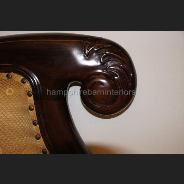KNIGHTSBRIDGE chaise longue lounge sofa in MAHOGANY and GOLD fabric2