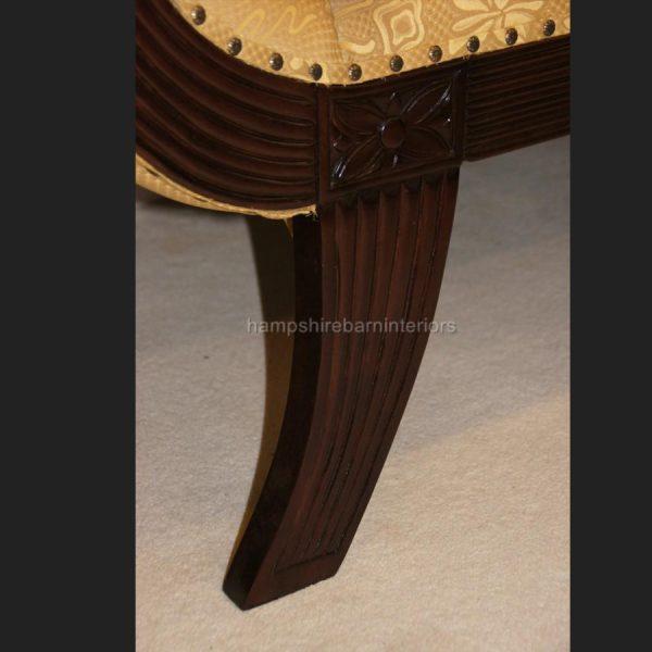 KNIGHTSBRIDGE chaise longue lounge sofa in MAHOGANY and GOLD fabric3