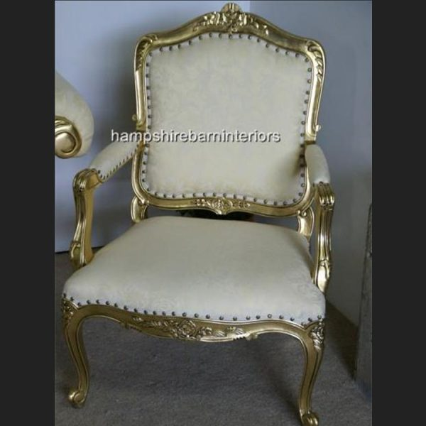 LARGE French Chair in gold leaf and cream fabric1