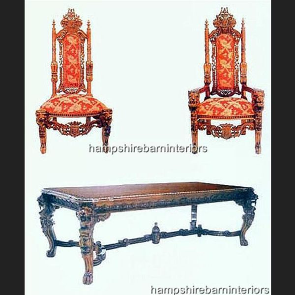 LION KING TABLE AND LION THRONE DINING CHAIRS
