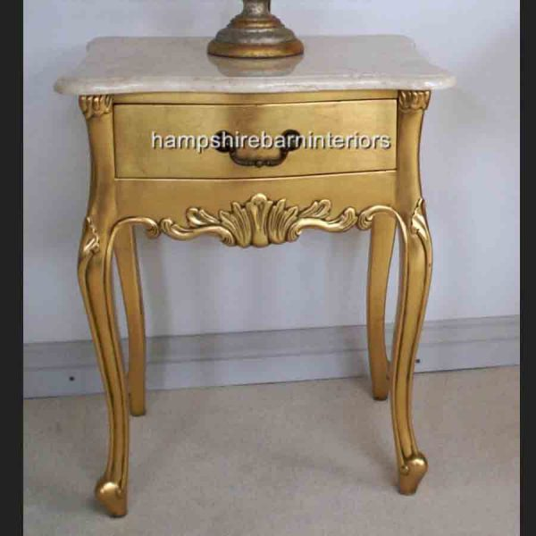 LOUIS GOLD LEAF LAMP TABLE WITH CREAM MARBLE TOP1
