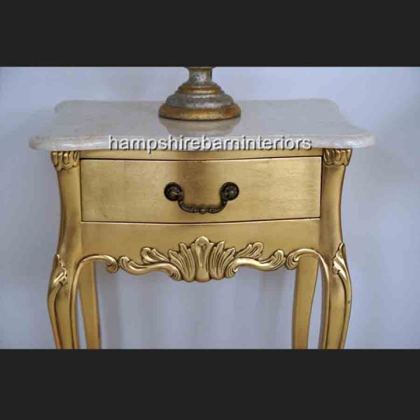 LOUIS GOLD LEAF LAMP TABLE WITH CREAM MARBLE TOP2