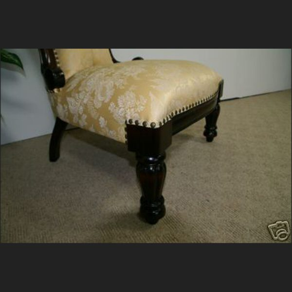 Ladies Victorian Chair in Mahogany and Regal Gold3