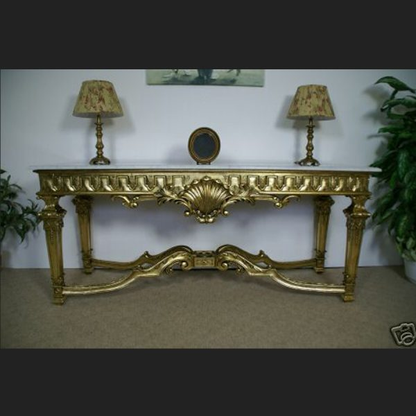 Large Gilded Gold Console Table