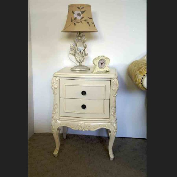 Louis Carved Bedside Cabinet in Antique White2 copy