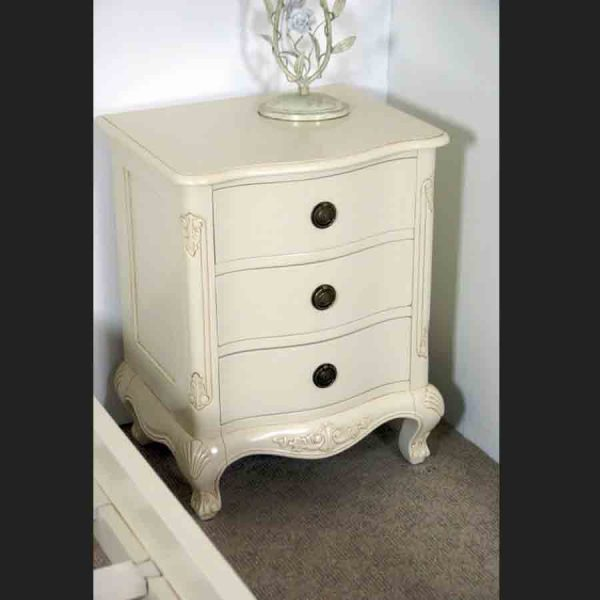 Louis Three Drawer Bedside Cabinet Chest in Antique White
