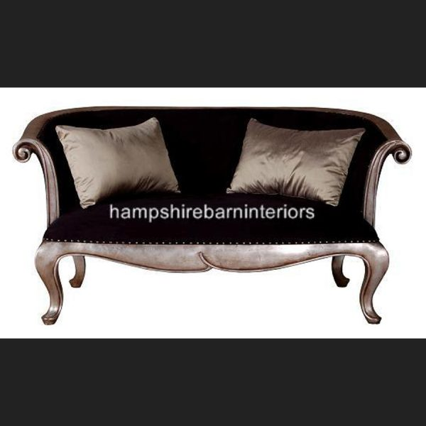 Neo-classical Designers Silver Leaf Sofa with black fabric