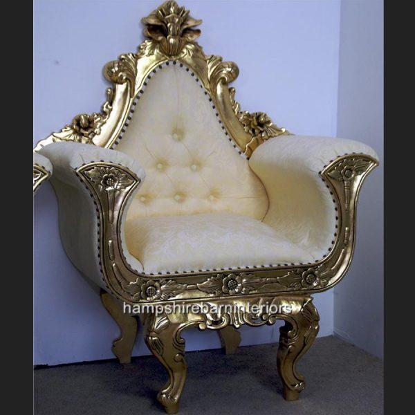Ornate Gold Gilded Wedding Throne Chair1