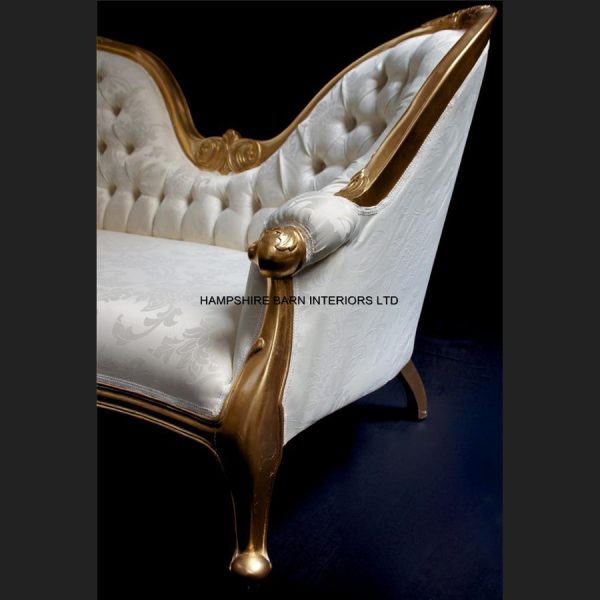 Parisian Double ended sofa in gold leaf and ivory cream fabric2