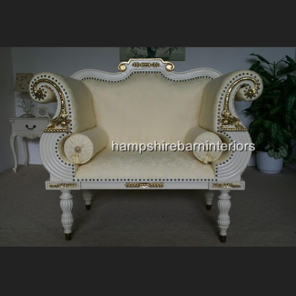 Regency Bergere Suite in Antique White with Cream Fabric1