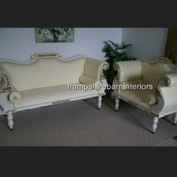 Regency Bergere Suite in Antique White with Cream Fabric2