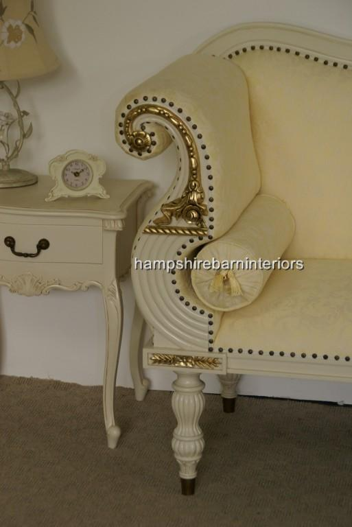 Regency Bergere Suite in Antique White with Cream Fabric3