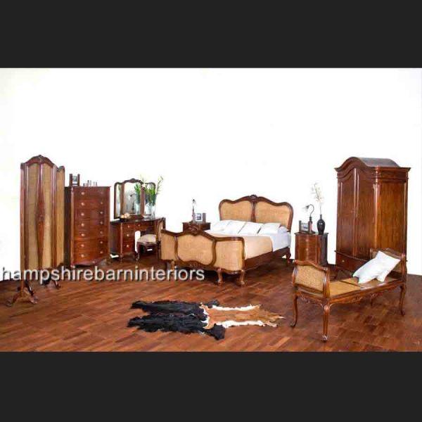 Regency Rattan Bed In Mahogany Finish