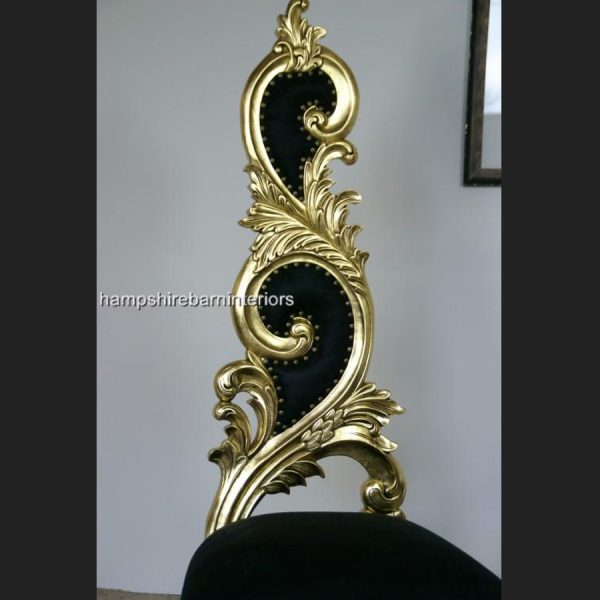 Renaissance Wedding Throne Chair in Gold Leaf and Black2