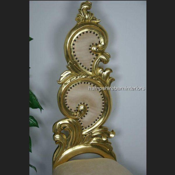 Renaissance Wedding Throne Chair in Gold Leaf and Cream3