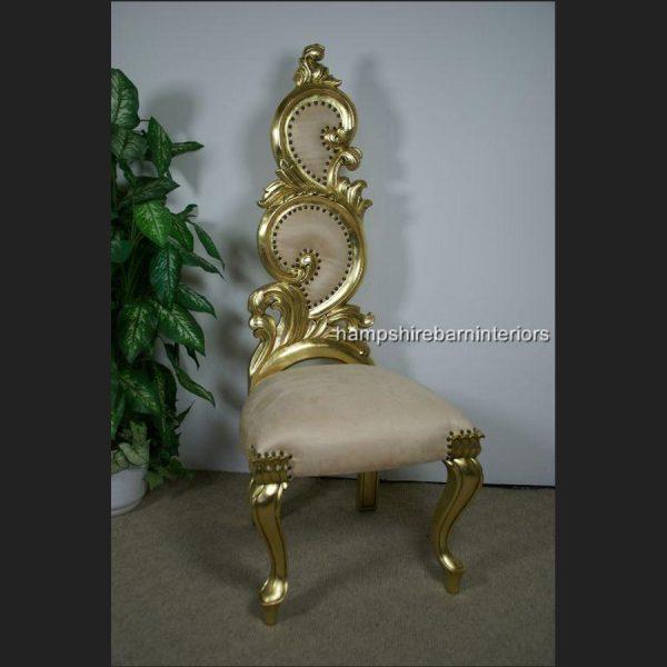 Renaissance Wedding Throne Chair in Gold Leaf and Cream4