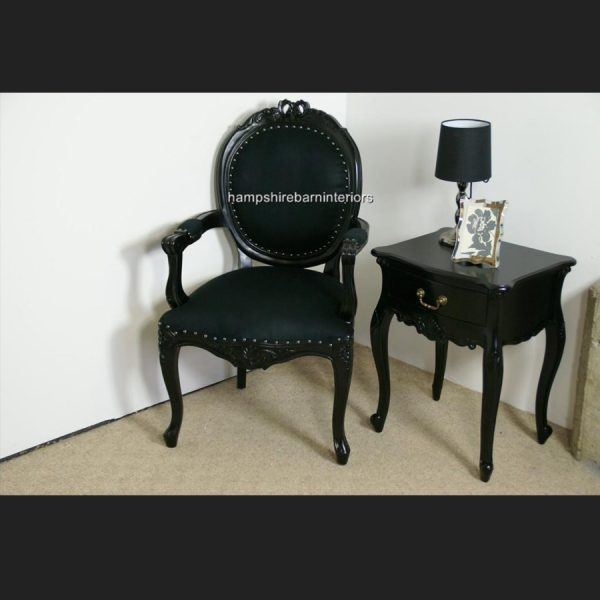 Ribbon Chair in Gloss Black and Black Upholstery5
