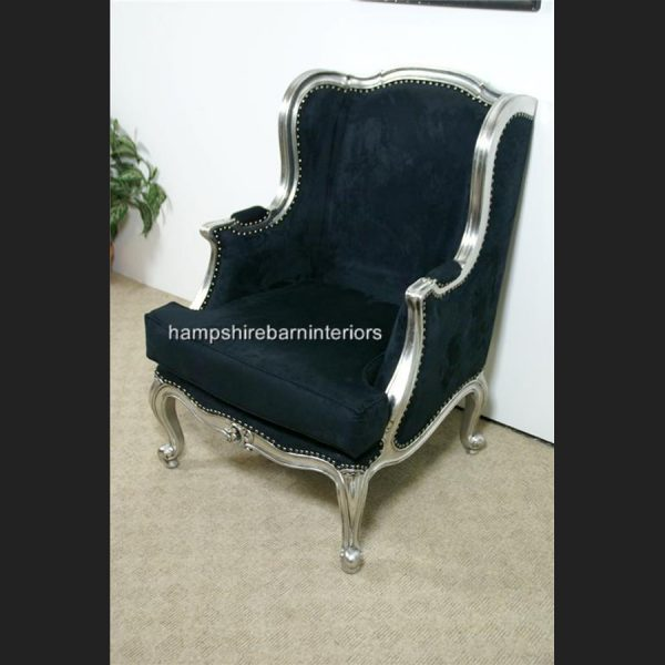 Silver and Black Arm Chair