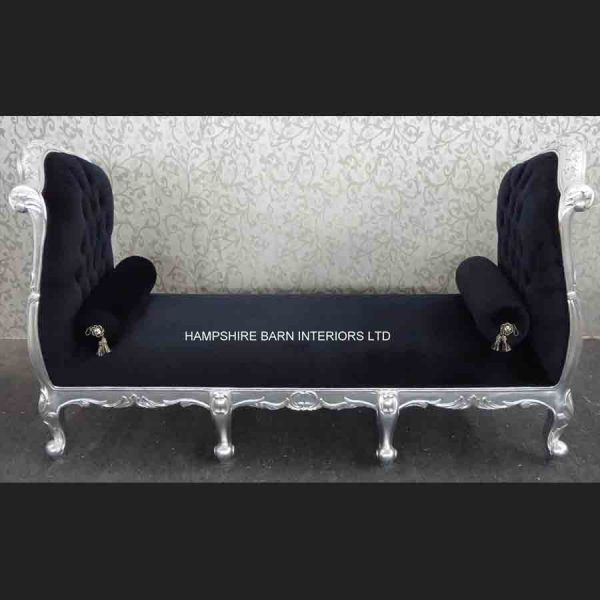 The Angel Chaise Longue Ottoman in Silver Leaf and Black Velvet in two sizes