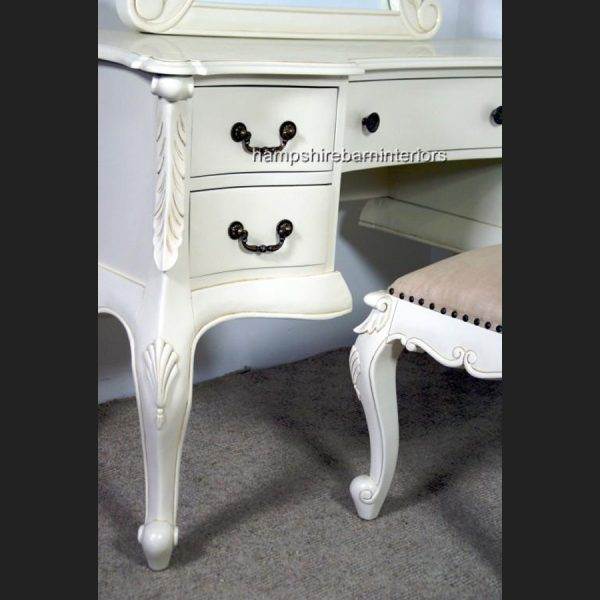 The Charles Dressing Table and Stool In Antique White2