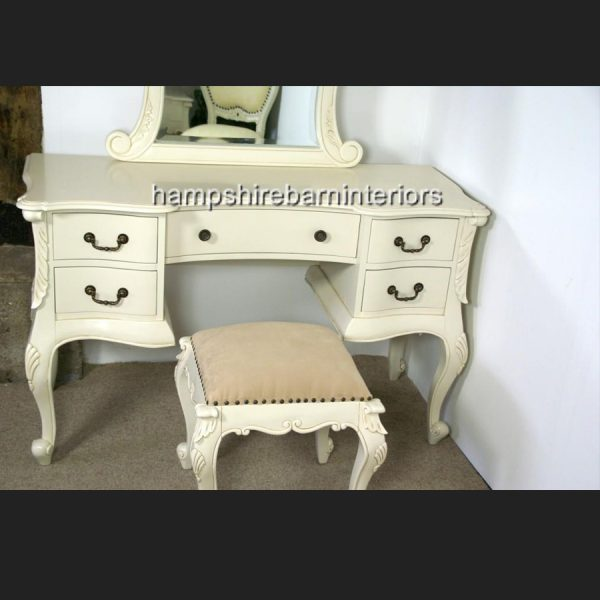 The Charles Dressing Table and Stool In Antique White3