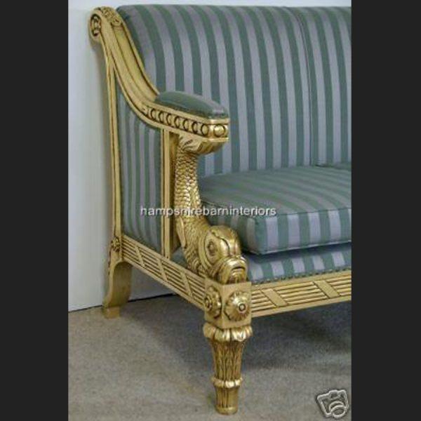 The Neptune Sofa in Green Regency stripe fabric2