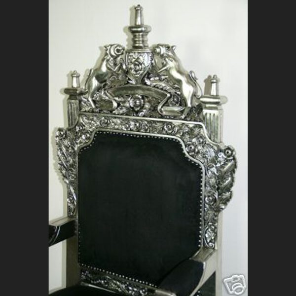 The Tudor Royal Throne Chair in Silver and Black4
