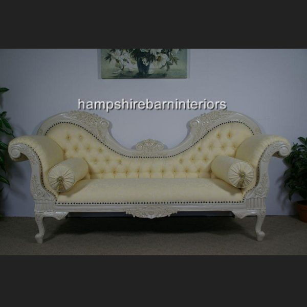 Twin Ended Hampshire chaise in antique white and cream fabric